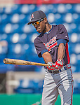 11 March 2013: Atlanta Braves outfielder B.J. Upton awaits his turn in the batting cage prior to a Spring Training game against the Washington Nationals at Space Coast Stadium in Viera, Florida. The Braves defeated the Nationals 7-2 in Grapefruit League play. Mandatory Credit: Ed Wolfstein Photo *** RAW (NEF) Image File Available ***