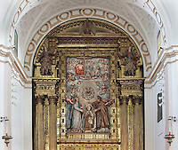 Detail of Retable of main Altar, Convento de Santa Teresa,(Convent of St Teresa), 1629-36,  Avila, Spain, built in Baroque style on the site of St Teresa's birthplace by architect and monk Alonso de san Jose (1600-54). The altar depicts Santa Teresa (1515-82), Carmelite nun, canonized 1622. Photograph by Manuel Cohen.