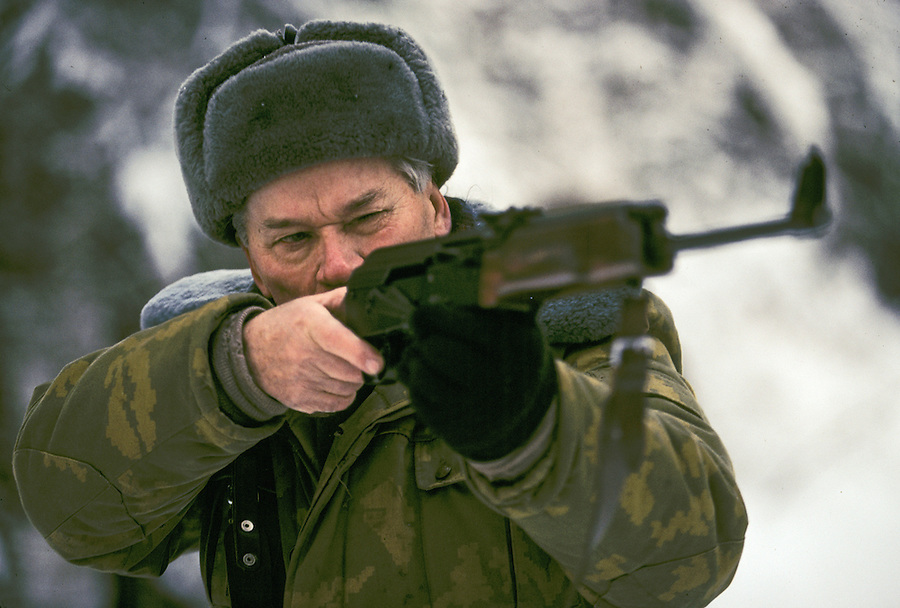 Izhevsk, Siberia, Russia, 10/11/1993.<br /> Weapons inventor Mikhail Kalashnikov on a hunting trip for deer, moose and elk on his birthday.
