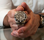 OXFORD,  CT-051617JS18- Watch maker William Werner, shows off one of the Naugamatic watches he makes at his shop in Oxford.. Werner, has also started a watch school for Disabled American Veterans. <br /> Jim Shannon Republican-American