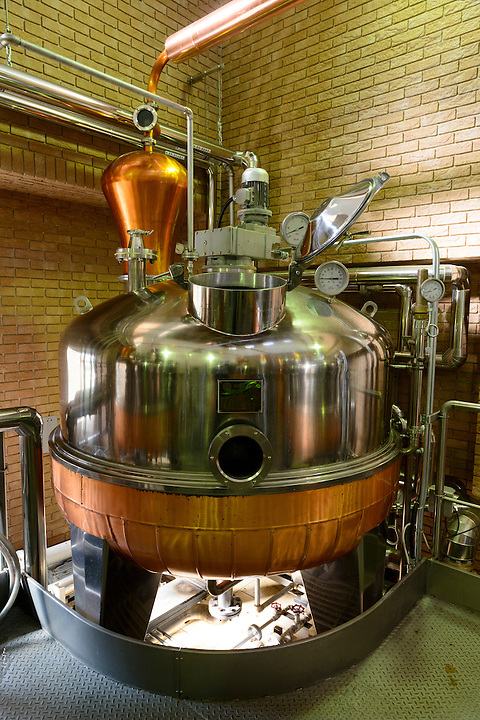 Grappa still. Sata Souji Shoten Shochu Distillery, Minami Kyushu, Kagoshima Pref, Japan, December 21, 2016. The Sata Souji Shoten Shochu Distillery makes shochu spirits from local sweet potatoes. In recent years the distillery has imported grappa, brandy, calvados stills from Europe to experiment with new distilling techniques. They have attracted considerable attention from the media and other distillers as leading innovators in their industry.
