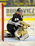 29 December 2007: Western Michigan University Broncos' goaltender Riley Gill, a Sophomore from Northfield, MN, in action against the Quinnipiac University Bobcats at Gutterson Fieldhouse in Burlington, Vermont. The Bobcats defeated the Broncos 2-1 in the first game of the Sheraton/TD Banknorth Catamount Cup Tournament...Mandatory Photo Credit: Ed Wolfstein Photo
