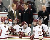 Bill Arnold (BC - 24), Greg Brown (BC - Assistant Coach), Kevin Hayes (BC - 12), Stephen Greenberg (BC - Senior Manager), Pat Mullane (BC - 11), Patrick Brown (BC - 23), Jimmy Hayes (BC - 10), Jerry York (BC - Head Coach) - The Boston College Eagles defeated the visiting Merrimack College Warriors 3-2 on Friday, October 29, 2010, at Conte Forum in Chestnut Hill, Massachusetts.