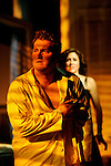 Cat On A Hot Tin Roof, by Tennessee Williams, directed by Michael Wilson at Hartford Stage May 26-June 26, 2005..Lighting Design: Rui Rita.Costume Design: David C. Woolard.Set Design: Geoff Cowie.Photo Credit: T Charles Erickson