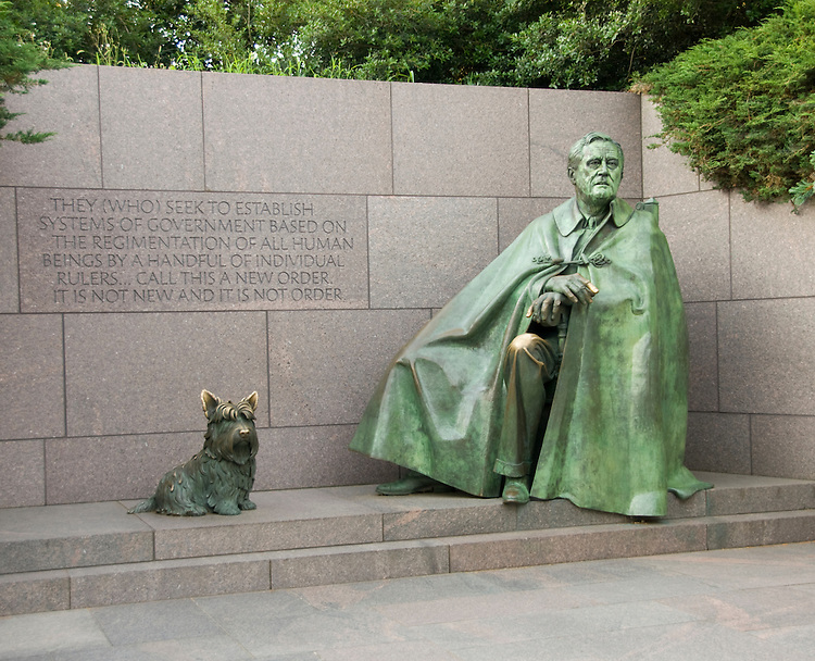 Washington DC; USA: The Franklin Delano Roosevelt Memorial. Sculpture of FDR and his dog Fala.  .Photo copyright Lee Foster Photo # 14-washdc82665