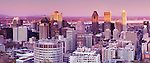Panoramic view of Downtown Montreal, Montreal Centre-Ville skyline during sunset. Quebec, Canada 2012.