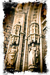 Detail from Palos Gate, Cathedral of Seville, Spain. Taken with tilted lens to get shallower depth of field and digitally edited to look like an old print.