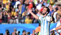 FUSSBALL WM 2014                ACHTELFINALE Argentinien - Schweiz                  01.07.2014 Gonzalo Higuain (Argentinien)