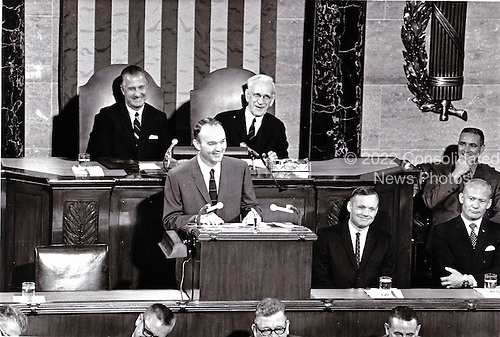 Washington, DC - (FILE) -- Apollo 11 Astronaut Michael L. Collins addresses a Joint Session of Congress on September 16, 1969.  Astronauts (L-R) Neil Armstrong, and Edwin E. Aldrin, Jr.  Congress honored the Astronauts for their historic flight to the Moon and return..Credit: NASA via CNP