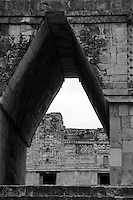 Mayan corbelled arch, Nunnery Quadrangle, Uxmal, Yucatan, Mexico