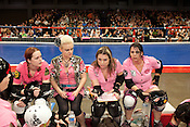 The Hellcats regroup during their bout with Putas del Fuego at the Palmer Events Center in Austin, Texas.