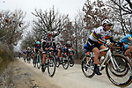 The peloton including World Champion Amalie Dideriksen (DEN) Boels-Dolmans Cycling Team in action on the white gravel roads of Tuscany during the 2017 Strade Bianche Women Elite race running 127km from Siena to Siena, Tuscany, Italy 4th March 2017.<br /> Picture: LaPresse/Fabio Ferrari | Newsfile<br /> <br /> <br /> All photos usage must carry mandatory copyright credit (&copy; Newsfile | LaPresse/Fabio Ferrari)