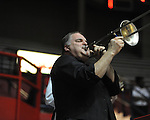 Jeff Callaway plays trombone at Ole Miss vs. Arkansas Little Rock head basketball coach Steve Shields at the C.M. &quot;Tad&quot; Smith Coliseum in Oxford, Miss. on Friday, November 16, 2012. Ole Miss won 92-52.