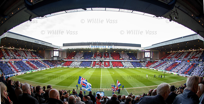 Rangers celebrate 140 years with a giant card display from all the supporters inside Ibrox before kick-off