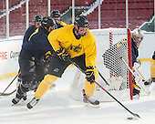 Jonathan Lashyn (Merrimack - 7), Hampus Gustafsson (Merrimack - 20), Rasmus Tirronen (Merrimack - 32) -  - The participating teams in Hockey East's first doubleheader during Frozen Fenway practiced on January 3, 2014 at Fenway Park in Boston, Massachusetts.