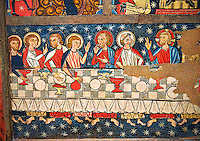 Gothic altar panel depicting the Last Supper. End of the 13th century, tempera on a spruce wooden panel  from  The Church of Sant Miguel de Soriguerola, Cerdanya, Huesca, Spain. Inv MNAC 43901. National Museum of Catalan Art (MNAC), Barcelona, Spain