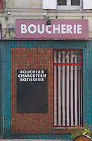 A closed boucherie butcher shop in Entre deux Mers. Bordeaux, France