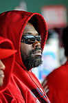 13 April 2008: Washington Nationals' infielder Dmitri Young watches play from the dugout during a game against the Atlanta Braves at Nationals Park, in Washington, DC. The Nationals ended their 9-game losing streak by defeating the Braves 5-4 in the last game of their 3-game series...Mandatory Photo Credit: Ed Wolfstein Photo