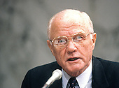 United States Senator John H. Glenn, Jr. (Democrat of Ohio) during a committee hearing on Capitol Hill in Washington, D.C. on April 24, 1990..Credit: Ron Sachs / CNP