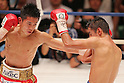 (L to R) Kazuto Ioka (JPN),  Juan Hernandez (Mex), AUGUST 10, 2011 - Boxing : Kazuto Ioka of Japan in action against Juan Hernandez of Mexico during the WBC Minimum weight title bout at Korakuen Hall, Tokyo, Japan. Kazuto Ioka of Japan won the fight on points after twelve rounds. (Photo by Yusuke Nakanishi/AFLO) [1090]