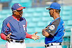 15 March 2006: Frank Robinson, manager of the Washington Nationals (left), speaks to Mets coach Jerry Manuel (right) prior to a Spring Training game against the New York Mets. The Mets defeated the Nationals 8-5 at Space Coast Stadium, in Viera, Florida...Mandatory Photo Credit: Ed Wolfstein..