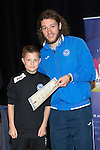 St Johnstone FC Youth Academy Presentation Night at Perth Concert Hall..21.04.14<br /> Stevie May presents to Jamie Oswald<br /> Picture by Graeme Hart.<br /> Copyright Perthshire Picture Agency<br /> Tel: 01738 623350  Mobile: 07990 594431
