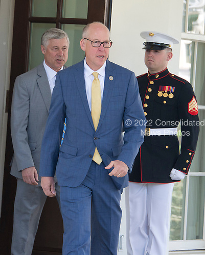 United States Representatives  Greg Walden (Republican of Oregon), Chairman of the US House Energy and Commerce Committee, center, and Fred Upton (Republican of Michigan), left, depart the White House in Washington, DC to announce their support for the GOP health care plan following a meeting with US President Donald J. Trump and other members of the Republican Caucus on Wednesday, May 3, 2017.<br /> Credit: Ron Sachs / CNP