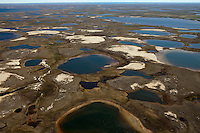 Yamal Peninsula, Russia, 08/07/2010..An aerial view of the Yamal Peninsula between Yarsel and Bovanenkovo,  the start of the Bovanenkovo gas fields.