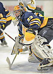 15 February 2008: Merrimack College Warriors' goaltender Andrew Braithwaite, a Sophomore from Kingston, Ontario, in action against the University of Vermont Catamounts at Gutterson Fieldhouse in Burlington, Vermont. The Catamounts defeated the Warriors 4-1 in the first game of their 2-game weekend series...Mandatory Photo Credit: Ed Wolfstein Photo