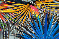 Colorful Indian Headress, Feathers, Display, Blue,  Orange, Red, Green, Silver