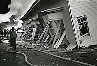 1989 Loma Prieta Earthquake: The Marina District of San Francisco burning. (Oakland Tribune Photo)