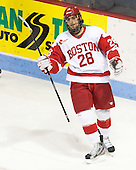 Sahir Gill (BU - 28) - The Boston University Terriers defeated the visiting Northeastern University Huskies 5-0 on senior night Saturday, March 9, 2013, at Agganis Arena in Boston, Massachusetts.
