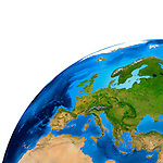 View of the Earth globe from space showing European continent. Isolated on white background.