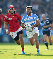 Martin Landajo of Argentina in possession. Rugby World Cup Pool C match between Argentina and Tonga on October 4, 2015 at Leicester City Stadium in Leicester, England. Photo by: Patrick Khachfe / Onside Images