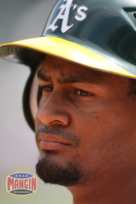 OAKLAND, CA - SEPTEMBER 2:  Eric Patterson #1 of the Oakland Athletics stands in the on deck circle against the Kansas City Royals during the game at the Oakland-Alameda County Coliseum on September 2, 2009 in Oakland, California. Photo by Brad Mangin