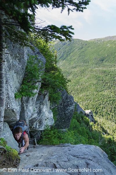 Hikers make their way up Six Husbands Trail during the summer months. Located in the White Mountains, New Hampshire.