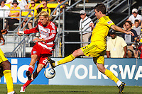 28 AUGUST 2010:  FC Dallas' Brek Shea (20) and Danny O'Rourke of the Columbus Crew (5) during MLS soccer game between FC Dallas vs Columbus Crew at Crew Stadium in Columbus, Ohio on August 28, 2010.
