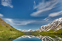 Lake in tundra and u-shaped glacial valley with mountain reflections, Alaska, USA