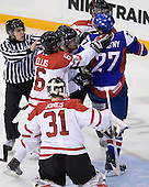 Martin Jones (Canada - 31), Ryan Ellis (Canada - 6), ?, Andrej Stastny (Slovakia - 27), ? - Team Canada defeated Team Slovakia 8-2 on Tuesday, December 29, 2009, at the Credit Union Centre in Saskatoon, Saskatchewan, during the 2010 World Juniors tournament.