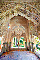 Arabesque Moorish stalactite or morcabe architecture  of the Palacios Nazaries, Alhambra. Granada, Andalusia, Spain.
