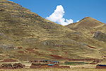 South America, Peru. Structures of a remote Andean village.