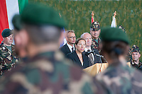 Eleni Tsakopoulos Kounalakis ambassador for the United States of America and Csaba Hende Defence Minister for Hungary talk during the presentation of the Coalition Support Fund for Hungary by the US military in Szolnok, Hungary on July 18, 2011. ATTILA VOLGYI