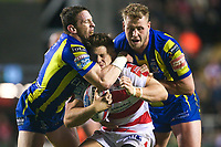 Picture by Alex Whitehead/SWpix.com - 16/03/2017 - Rugby League - Betfred Super League - Leigh Centurions v Warrington Wolves - Leigh Sports Village, Leigh, England - Leigh's Ryan Hampshire is tackled by Warrington's Kurt Gidley and Joe Westerman.