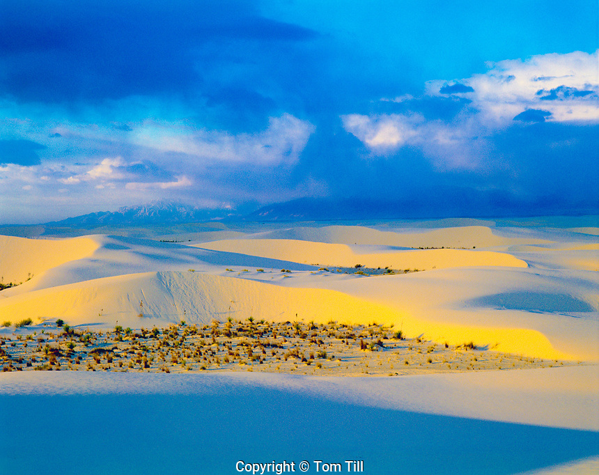 Sunrise at White Sands National Monument, New Mexico, , Gypsum carved sand dunes in  Tularosa Basin