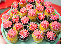 A display of cupcakes at the Sprinkle Splash Sweet Shoppe, the newest addition to the shops located in La Marqueta in East Harlem in New York, seen on its opening day, Saturday, April 2, 2016. Besides the incubator kitchen in the building there are a number of retail spaces in the revitalized facility rented by the entrepreneurs and small businesses which use the kitchen. (© Richard B. Levine)