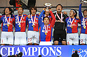 FC Tokyo team group, JANUARY 1, 2012 - Football / Soccer : Yasuyuki Konno of FC Tokyo holds up the trophy as he celebrate with his teammates during the award ceremony after winning the 91st Emperor's Cup final match between Kyoto Sanga F.C. 2-4 F.C.Tokyo at National Stadium in Tokyo, Japan. (Photo by Takahisa Hirano/AFLO)