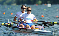 Hamilton, NEW ZEALAND. GBR LW2X. Bow, Hester GOODSELL and Sophie HOSKING. move away from the start in their heat of the lightweight women's double sculls.   2010 World Rowing Championship on Lake Karapiro Saturday  30/10/2010. [Mandatory Credit Peter Spurrier:Intersport Images].