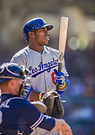 22 June 2013: Los Angeles Dodgers outfielder Yasiel Puig in action against the San Diego Padres at Petco Park in San Diego, California. The Dodgers defeated the Padres 6-1 in the third game of their 4-game Divisional Series. Mandatory Credit: Ed Wolfstein Photo *** RAW (NEF) Image File Available ***