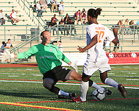 Mark mURPHY #20 of Crystal Palace Baltimore stops Gregory Richardson #20 of the Carolina Railhawks during an NASL match at Paul Angelo Russo Stadium in Towson, Maryland on September 18 2010.