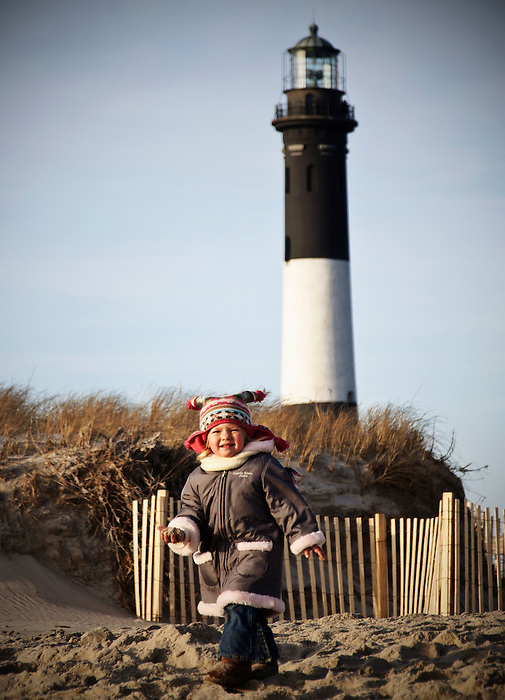 Young Toddler Enjoys New Year's Day at Fire Island